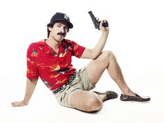 Andy Samberg dressed up as Magnum P.I. There are no words.