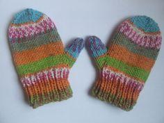 Children's Mittens -Halloween stripes - age 18 months 2 years, toddler - hand knitted - orange pumpkin - unisex. £7.00, via Etsy.