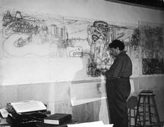 Diego Rivera working on pencil sketches for mural depicting Pan-American unity, San Francisco, 1941. (Peter Stackpole—The LIFE Picture Collection/Getty Images)