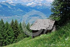 This is a piece of a farm where we keep the grain and fodder for livestock. This one is old and abandoned. Stock Foto, Livestock, Abandoned, Grains, Mountains, Nature, Travel, Rustic Hutch, Wood