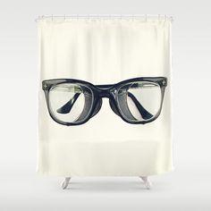 Vintage Jackson Horn-rimmed Motorcycle Welding Steampunk Glasses 1968 Shower Curtain