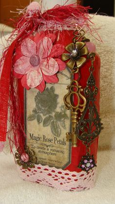 Altered bottle  Valentines Day  by madhattresscreations on Etsy, $23.50