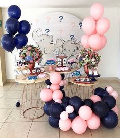 How adorable is this gender reveal elephant themed baby shower. Baby Shower Deco, Baby Shower Tags, Baby Shower Parties, Baby Shower Themes, Gender Reveal Party Decorations, Baby Gender Reveal Party, Elephant Party, Elephant Theme, Birthday Girl Pictures