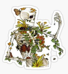 """""""Bones and Botany"""" Stickers by Elizabeth Moss Stickers Kawaii, Cool Stickers, Printable Stickers, Laptop Stickers, Journal Stickers, Planner Stickers, Elizabeth Moss, Tumblr Stickers, Aesthetic Stickers"""