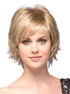 Perruque femme courte droite d'or dégradée en fibre de raie de côté