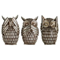 3 Polyresin Antique Silver Gloss Hear See Speak No Evil Wise Owls Sculptures Set 5018705357263 | eBay