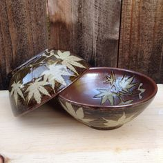 A one of a kind custom set inspired by this customer's story of Japanese maple trees - Japanese maple leaf handmade ceramic bowls with samara winged seed pods