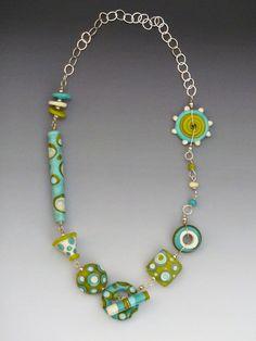 Tribal Necklace in Lime & Turquoise handmade by LisaInglertJewelry, $94.00