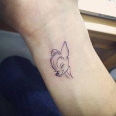 Small bambi tattoo on the left wrist. Tattoo artist: Doy