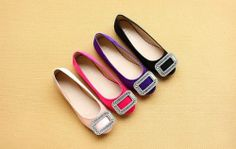 Anna&zero® 4 Colors New Korean Stylish Women's Flats Shoes Square Buckle Round Toe Shoes