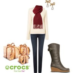 """""""Gift of Crocs"""" by crocsshoes on Polyvore. The A-Leigh Boot is the perfect shoe to go from day to night time Christmas party! #Winter #Boot #Christmas #Party #Wedge #Crocs"""