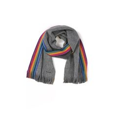 Paul Smith Rainbow Stripe End Scarf ($125) ❤ liked on Polyvore featuring men's fashion, men's accessories, men's scarves, grey and mens long scarves