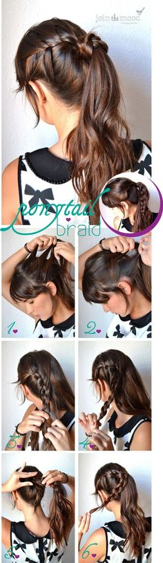 ponytail braid hair tutorial