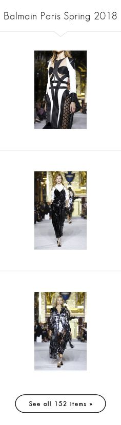 """""""Balmain Paris Spring 2018"""" by watereverysunday ❤ liked on Polyvore featuring PFW, balmain, spring2018, ss2018, logo and words"""