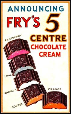 Announcing Fry's 5 centre chocolate cream retro shabby chic vintage style picture metal wall plaque sign x Old Sweets, Vintage Sweets, Retro Sweets, Retro Food, Retro Ads, Vintage Advertisements, Vintage Ads, Retro Advertising, Vintage Stuff