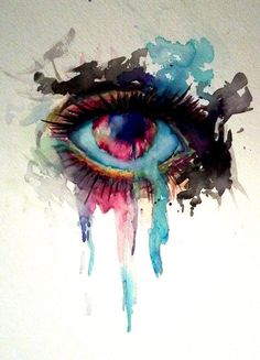 Featured Artist on Nicole Morrow Art (C) For this painting of an eye, I think the artist is using a wet on dry painting technique. I chose this image because it has an interesting focal point. What balance is the artist using? Watercolor Eyes, Watercolor Paintings, Watercolor Tattoos, Dali Paintings, Abstract Watercolor, Art And Illustration, Lapin Art, What's My Favorite Color, Chiaroscuro
