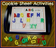 It all started with a cookie sheet. I was observing a student in a kindergarten classroom during literacy center time and in one of the… Kindergarten Readiness, Preschool Literacy, School Readiness, Kindergarten Classroom, Literacy Centers, Kindergarten Crafts, Abc Centers, Writing Centers, Preschool Alphabet