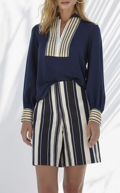 This Zeus + Dione Crepe De Chine Mira Blouse features a mao collar with bold contrast golden plackets and cuffs. Blouse, Pants, Shopping, Clothes, Collection, Tops, Women, Fashion, Trouser Pants