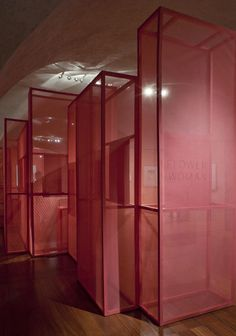 """""""This exhibition designed by Gitta Gschwendtner for London's Somerset House displayed fashion drawings on gauze-covered boxes."""""""