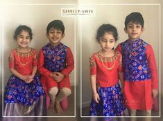 ideas for baby dress design kids fashion Kids Indian Wear, Kids Ethnic Wear, Kids Dress Wear, Dresses Kids Girl, Kids Wear, Mom And Son Outfits, Kids Outfits, Baby Boy Outfits, Kids Lehenga