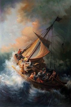 Rembrandt Christ In The Storm painting for sale - Rembrandt Christ In The Storm is handmade art reproduction; You can buy Rembrandt Christ In The Storm painting on canvas or frame. Jesus Calms The Storm, Rembrandt Paintings, Rembrandt Art, Oil Paintings, Painting Portraits, Rembrandt Etchings, Paintings Famous, Oil Portrait, Art History