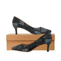 Dark Grey Mosaic Glass Women's Pointed Toe Low Heel Pumps (Model 053).Modern dark grey mosaic glass design. Low Heels, Shoes Heels, Pumps, Glass Design, Mosaic Glass, Dark Grey, Kitten Heels, Toe, Modern