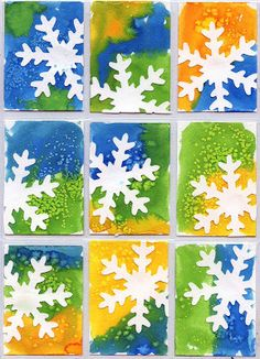 Art Projects for Kids: Snowflake Art Trading Cards. Punched snowflakes glued to painted watercolor paper. This would be fun to add Zentangle to Winter Art Projects, School Art Projects, Projects For Kids, Winter Project, Winter Craft, Kindergarten Art, Preschool Art, Kindergarten Christmas, Preschool Winter