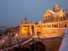 Budapesten a Budai Vár hóesésben