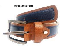 cinturon aplique centro color miel con azul