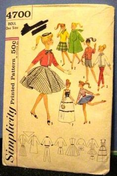 960s Vintage Simplicity Barbie Doll Clothes sewing pattern 4700
