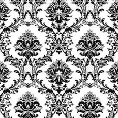 Wallpaper Sample Black and White Victorian Damask | eBay