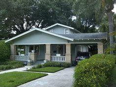 Cottage House Plans With Porte Cochere - Porches are outdoor spaces with covered roofs. They're great architectural features that can keep you dry Craftsman Home Decor, Craftsman Exterior, Craftsman Bungalows, Craftsman Style, Exterior Paint, Cottage House Plans, Cottage Homes, 1930s House Exterior, Outdoor Pergola
