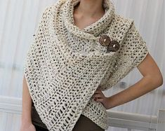 This Easy Crochet pattern Beginner crochet Patron crochet AZALI is just one of the custom, handmade pieces you'll find in our patterns & blueprints shops. Crochet Wrap Pattern, Crochet Poncho Patterns, Crochet Patterns For Beginners, Knitting Patterns, Beginner Crochet, Easy Patterns, Scarf Patterns, Free Knitting, Cardigan Au Crochet