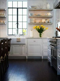 flaoting shelves in classic white kitchen by Sage Design