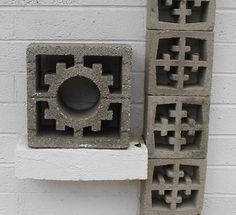 34 designs of breeze block in Jack LeVine's collection - let's look at each one - Retro Renovation Brick Design, Exterior Design, Interior And Exterior, Decorative Concrete Blocks, Spanish Exterior, Concrete Bricks, Las Vegas Homes, Spanish Design, Retro Renovation