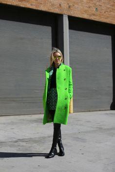 Lime green coat. #fashion #coat #neon