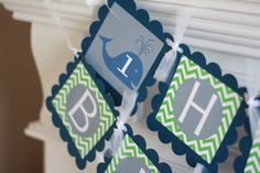 Birthday or Baby Shower Navy Blue, Grey and Green Whale Chevron Banner - Toppers, Favor Tags & Door Sign Available