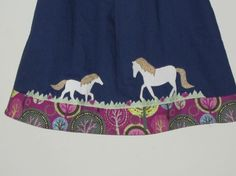 Navy Horse Pillowcase Dress  -  I want to do this for Charlee with bucking cows:)