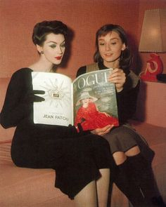 """loungeking: """"Fifties supermodel Dovima and Audrey Hepburn on the set of Funny Face (1957). """""""