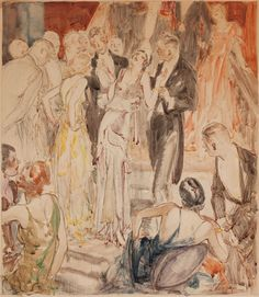 """fawnvelveteen: """"  Henri Patrick Raleigh, Center of Attention, 1930, Watercolor and pen on board, 15 x 13.5 in. """""""