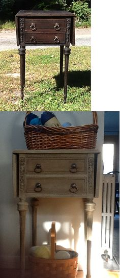 Grandmother's sewing table.  The lacquer was badly cracked. Shabby chic and Annie Sloan's chalk paint does it again!