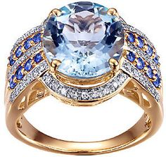 QVC 4.40cttw Aquamarine & Sapphire Ring w/Diamond Accents, 14K. Aquamarine jewelry. I'm an affiliate marketer. When you click on a link or buy from the retailer, I earn a commission.