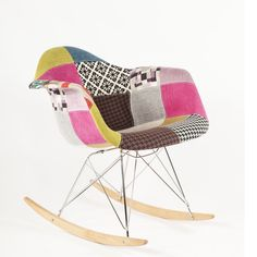 Light Patchwork Mid-Century Rocking Chair by Control Brand Upholstered Rocking Chairs, Eames Rocking Chair, Plastic Rocking Chair, Patchwork Chair, Contemporary Home Decor, Lowes Home Improvements, Colorful Decor, Love Seat, Armchair
