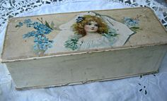 Antique candy box young girl forget me nots by LittleBeachDesigns, $59.00