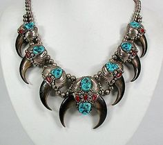 Vintage Squash Blossom Necklace | Designer ?.  Sterling silver, turquoise, bear claws and coral.