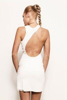 KYLA - Black, White, Red, Asymmetrical Open Back Jersey Grecian Maxi Dress Sustainable (Michael Kors, Ralph Lauren, Prada, BCBG, Gucci)