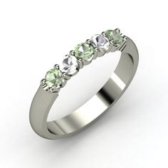 Round Green Amethyst Sterling Silver Ring with Green Amethyst