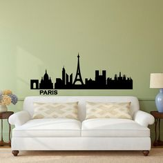 Paris Skyline Wall Decal Vinyl Sticker City by FabWallDecals