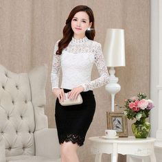 Women's Lace Long Sleeve Floral Shirt Blouse | 9th Wave