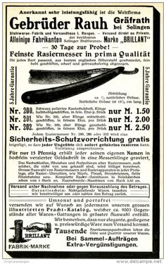 Original-Werbung/ Anzeige 1910 - RASIERMESSER / GEBRÜDER RAUH - GRÄFRATH BEI…